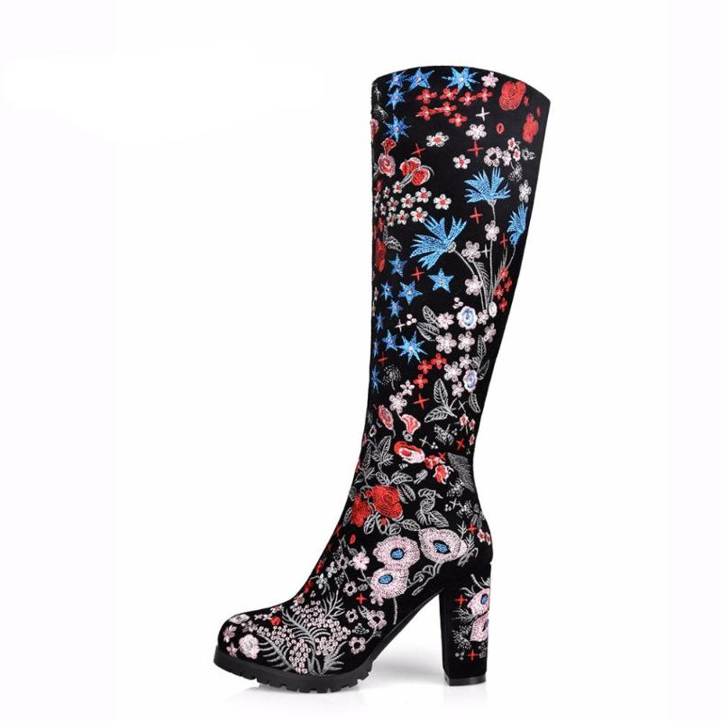 Arden Furtado 2018 new shoes for woman fashion boots knee high boots cow suede platform women genuine suede embroidered boots - IMPAVIID