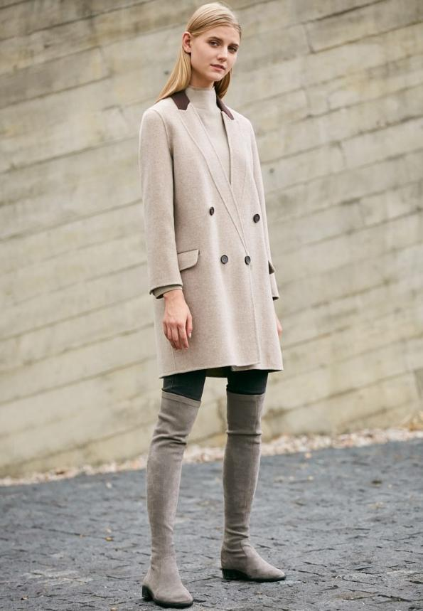 DEEP V SPLICED WOOLEN COAT