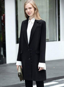 NOTCHED ELONGATED BLACK BLAZER
