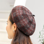 RETRO KNITTED PLAID BERET