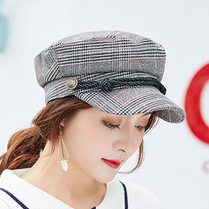PLAID COTTON NEWSBOY / BAKER BOY BERET