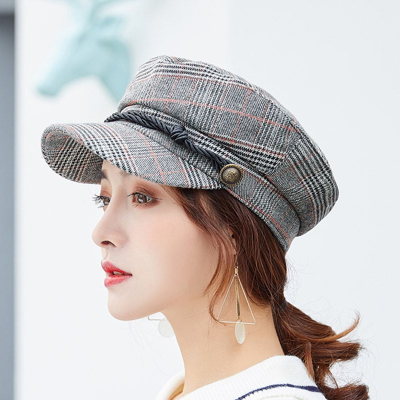 PLAID PUUVILL NEWSBOY / BAKER BOY BERET