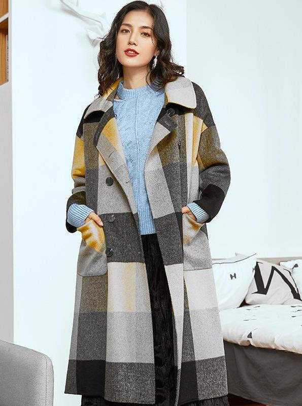 DOUBLE SIDED CONTRAST PLAID COAT