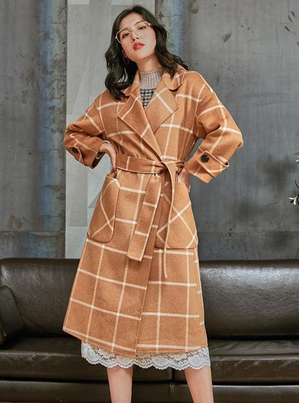 WRAPPED DOUBLE SIDED PLAID COAT