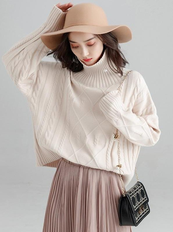 OVERSIZED GEBREIDE CHUNKY TURTLENECK SWEATER
