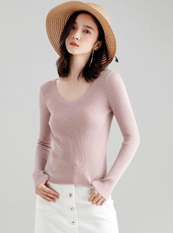 LONG SLEEVE KNITTED BASIC SWEATER