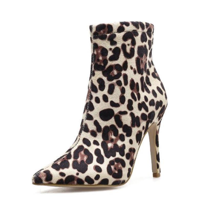 LEOPARD PRINT HIGH HEEL ANKLE BOOTS