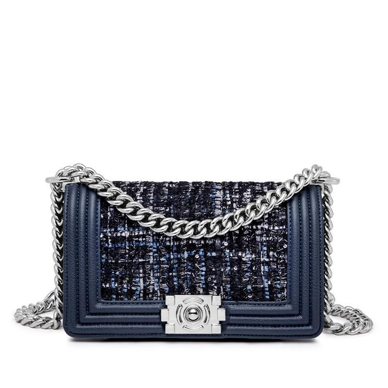 I-TWEED SILVER CHAIN ​​CROSSBODY BAG