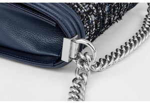 TWEED SILVER CHAIN ​​CROSSBODY BAG