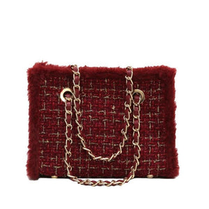 RED TWEED CROSSBODY BAG