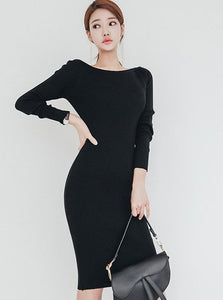 80'S INSPIRED BODYCON SWEATER DRESS - IMPAVIID