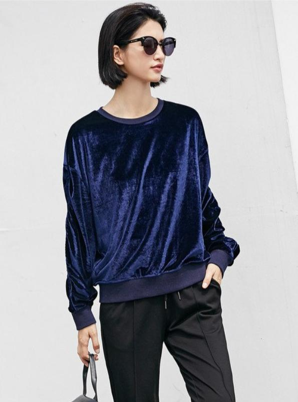 VELVET LOOSE SWEATSHIRT MULTIPLE COLORS