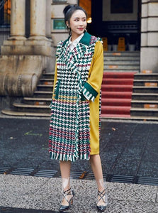 COLOR BLOCK PLAID SPRING COAT