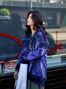 STITCHED OVERSIZED VELVET JACKET