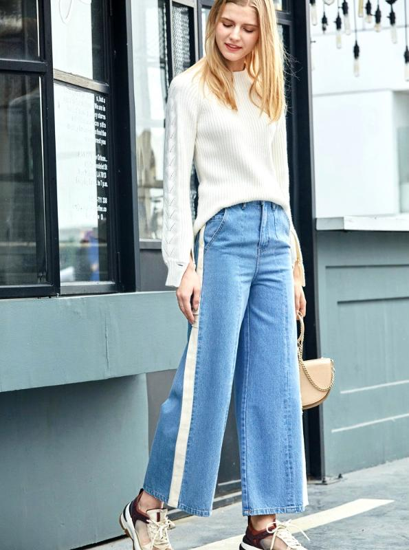 SIDE STRIPE WIDE LEG CROPPED JEANS