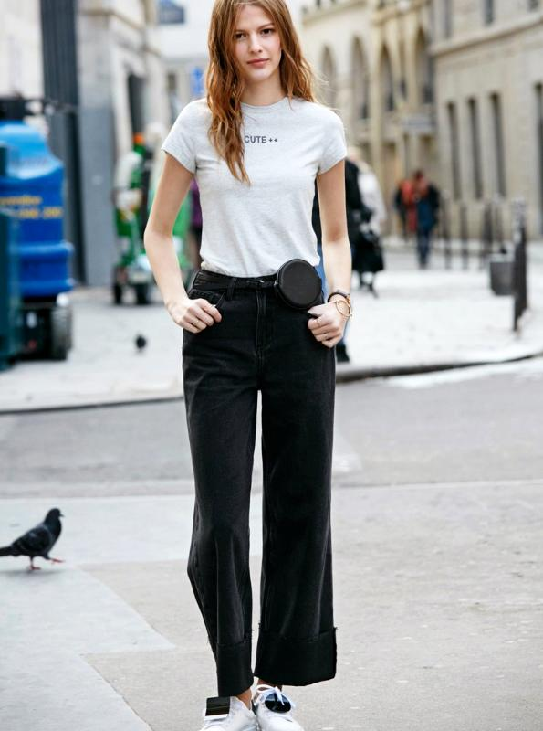 BLACK CROPPED WIDE LEG JEANS - IMPAVIID