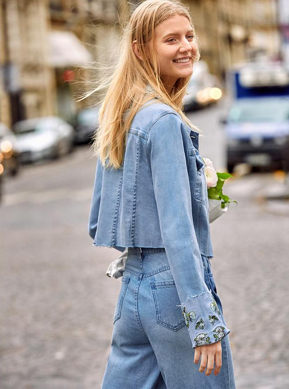 Amii Minimalist Short Denim Jacket Women 2019 Spring Casual Harajuku Long Sleeve Embroidery Floral Cotton Female Denim Coats - IMPAVIID
