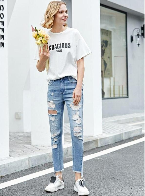 BLEACHED RIPPED SKINNY JEANS - IMPAVIID