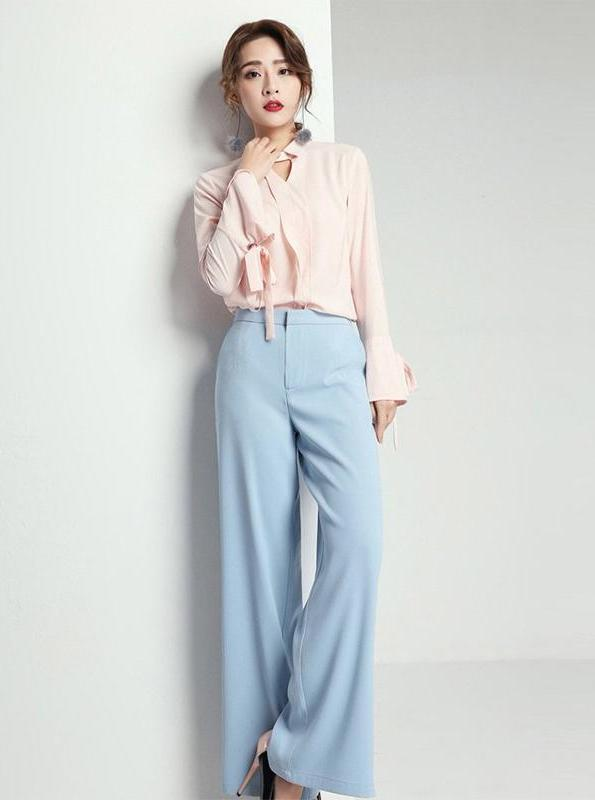 HIGH WAISTED CHIFFON WIDE LEG PANTS - impaviid