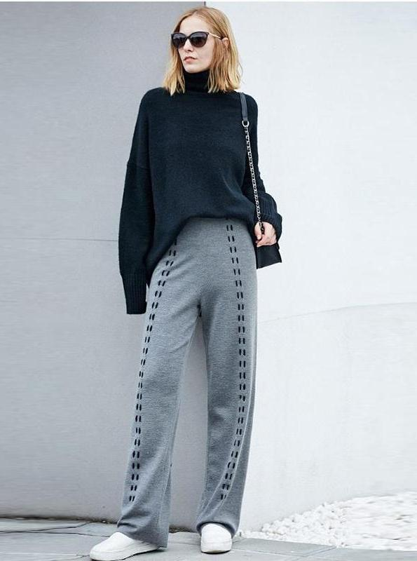 CHIC KNITTED ELASTIC WIDE LEG PANTS - IMPAVIID