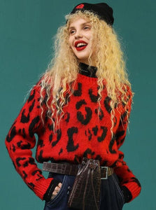 RED LEOPARD PRINT SWEATER
