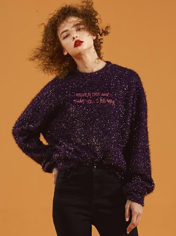 HAND KNITTED SPARKLING PULLOVER SWEATER