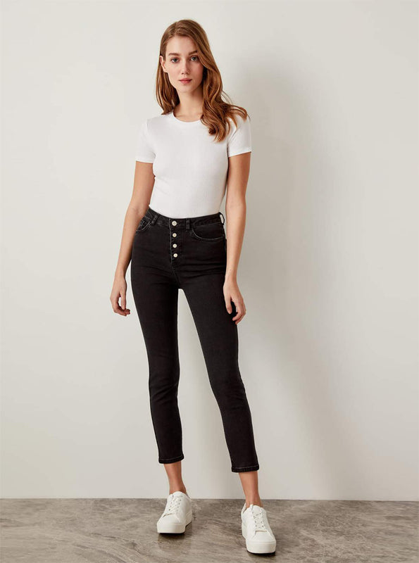 BUTTONED UP HIGH WAISTED SKINNY JEANS