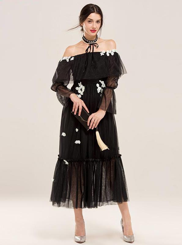 BLACK MESH MAXI DRESS WITH TULLE ELEMENTS - IMPAVIID