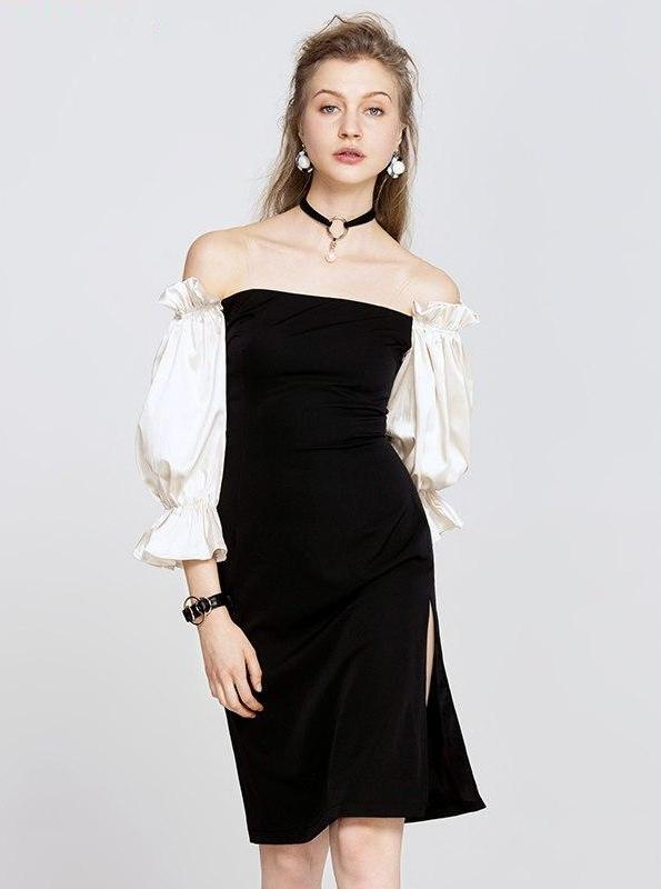 LANTERN SLEEVES OFF SHOULDERS BLACK DRESS