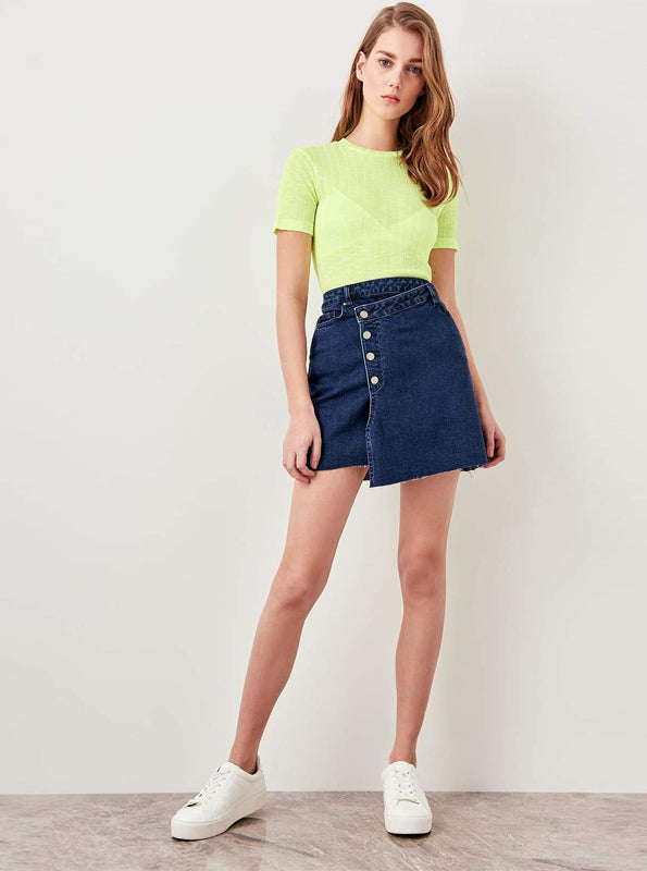 ASYMMETRICAL DENIM MINI SKIRT