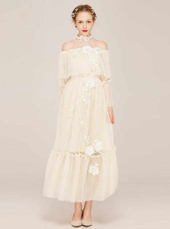 OFF SHOULDER BEIGE MAXI MESH DRESS WITH TULLE FLOWERS