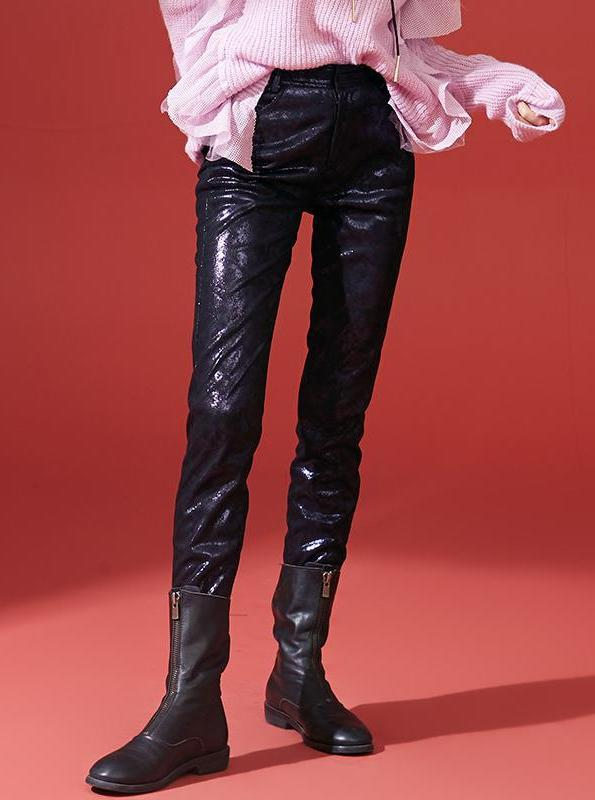 PU LEATHER BLACK PANTS