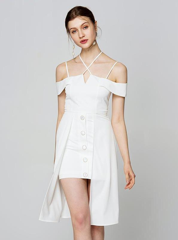 80'S INSPIRED WHITE CRISS CROSS LAYERED MINI DRESS - IMPAVIID