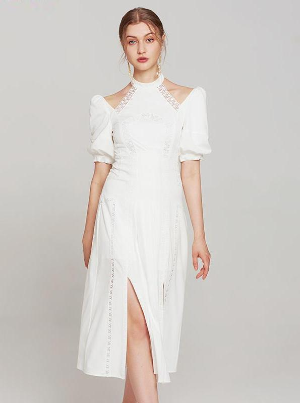 WHITE MIDI 80'S HALTER TOP DRESS WITH SHOULDER PADS