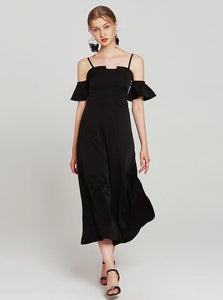 BLACK ANKLE LENGTH FORMAL DRESS - IMPAVIID
