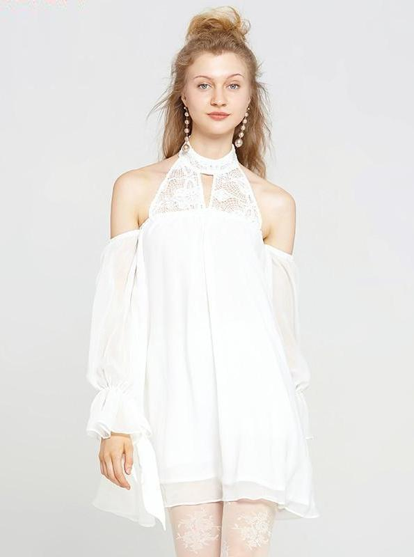 80'S STYLE WHITE LACED HALTER MINI DRESS - IMPAVIID