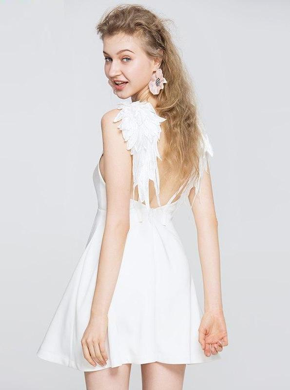 80'S STYLE ANGLE WINGS MINI WHITE DRESS - IMPAVIID