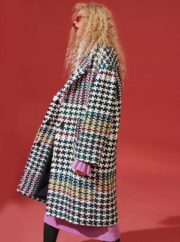 GINGHAM PLAID OVERSIZED COAT