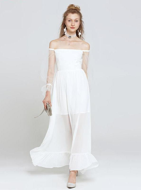 OFF SHOULDER 80'S STYLE LAYERED MAXI WHITE DRESS