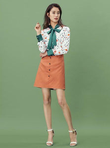 ORANGE BUTTONED UP MIDI SKIRT - impraid