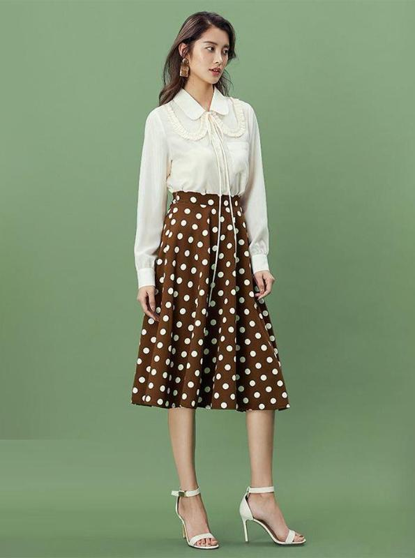 BROWN POLKA DOT MIDI A-LINE SKIRT - IMPAVIID