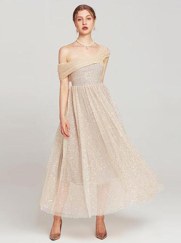 Nude SEQUINED STRAPLESS LAYERED TULLE DRESS