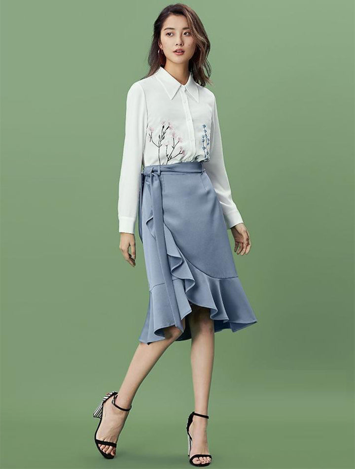 BLUE RUFFLED WRAPPED MIDI SKIRT - IMPAVIID
