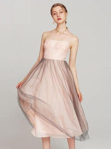 PINK STRAPLESS LAIREED MESH MIDI KLEEB