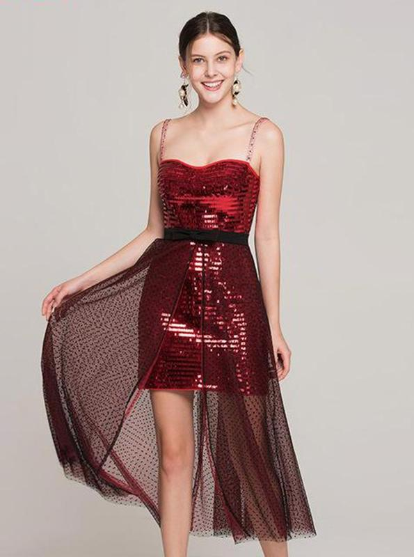 RED SEQUINED 80'S STYLE DRESS