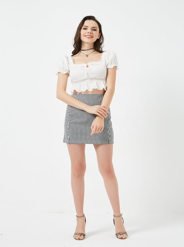 PUFF SLEEVES CROPPED LACED TOP