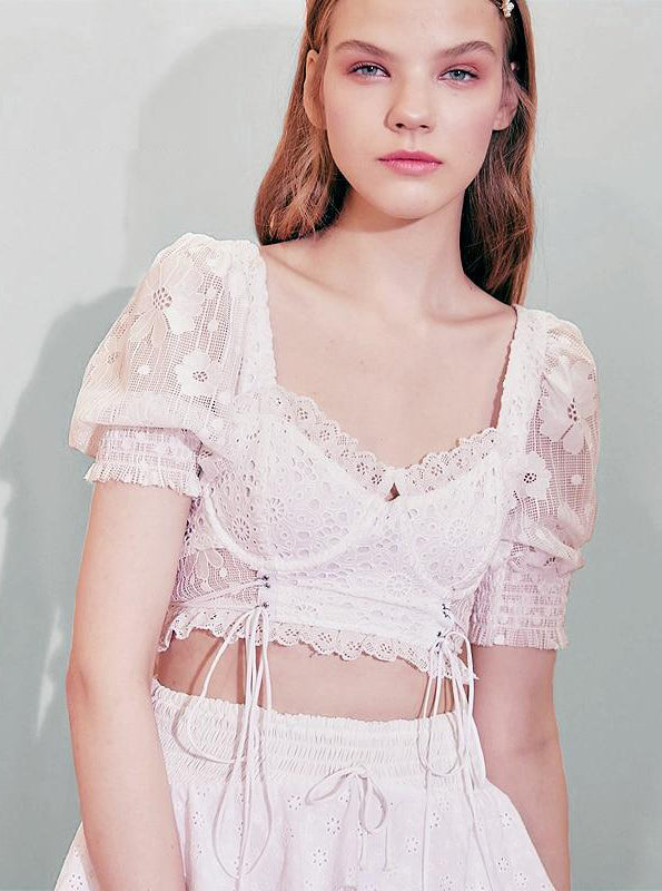 LACED STRUCTURED CORSET PUFF SLEEP TOP