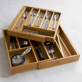 Expandable Bamboo Flatware Tray