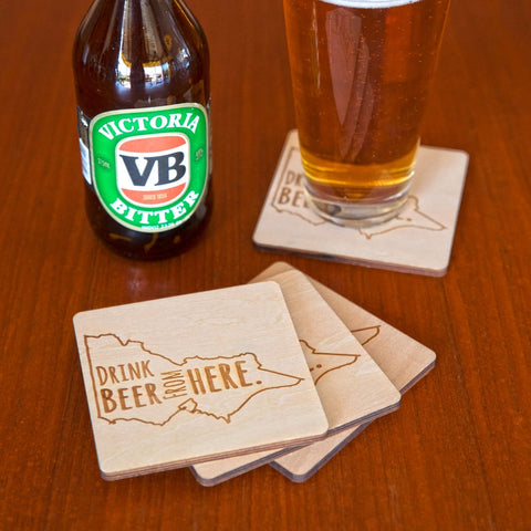 Coasters (Set of 4) - Drink Beer from VIC