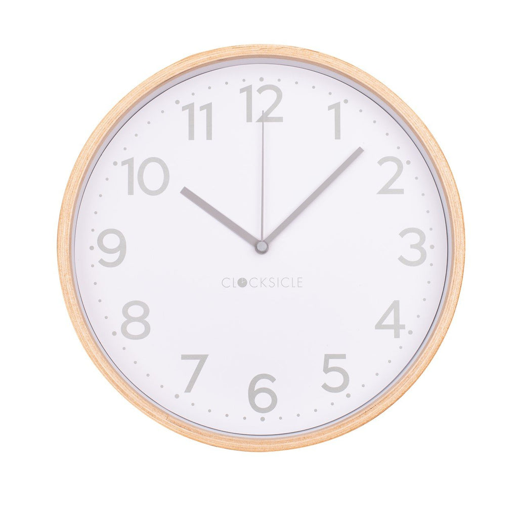 Wall Clock - Grey - Wooden Rim